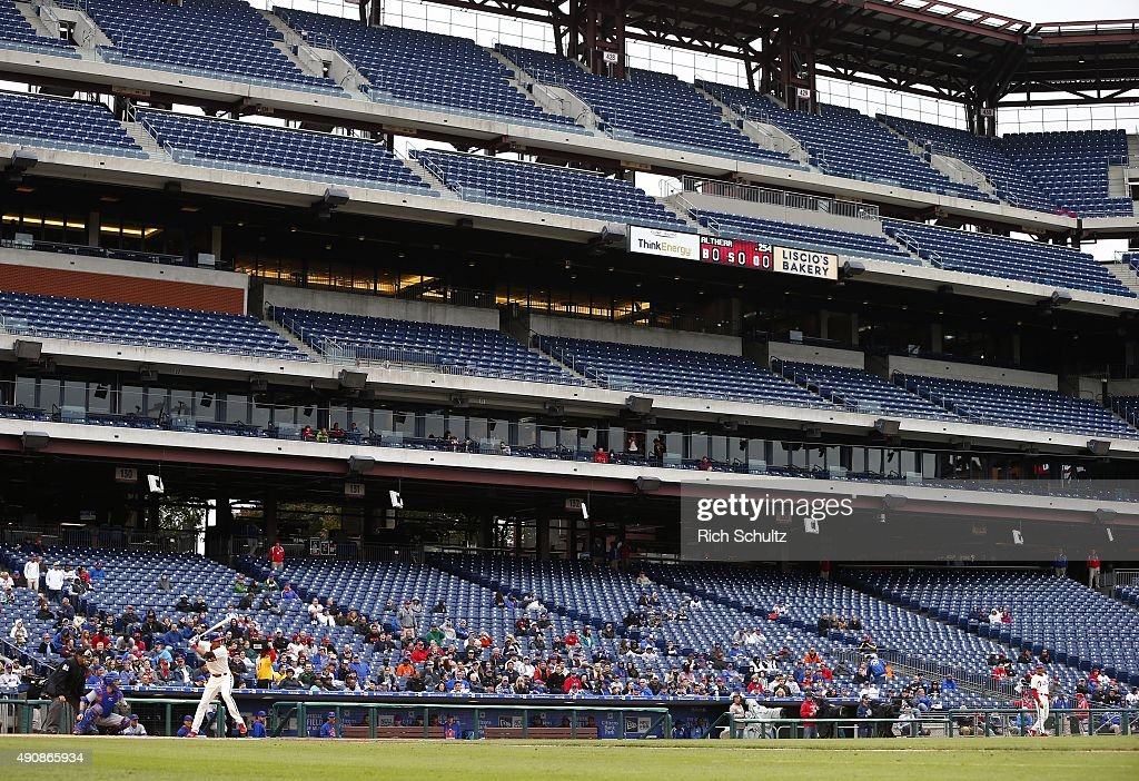 Aaron Altherr #40 of the Philadelphia Phillies bats against the New York Mets during the fourth inning of a MLB game in front of sparse crowd at Citizens Bank Park on October 1, 2015 in Philadelphia, Pennsylvania. The Phillies defeated the Mets 3-0.