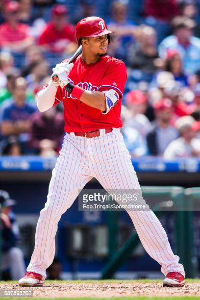 Aaron Altherr of the Philadelphia Phillies bats during the game against the Seattle Mariners at Citizens Bank Park on May 10 2017 in Philadelphia...