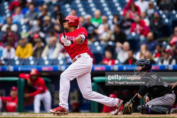 Aaron Altherr of the Philadelphia Phillies bats during the game against the Colorado Rockies at Citizens Bank Park on May 25 2017 in Philadelphia...