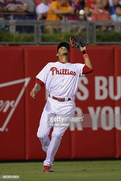 Aaron Altherr of the Philadelphia Phillies catches a fly ball in the fourth inning during a game against the St Louis Cardinals at Citizens Bank Park...