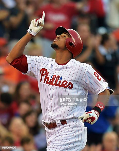 Aaron Altherr of the Philadelphia Phillies celebrates a home run in the first inning against the San Francisco Giants at Citizens Bank Park on August...
