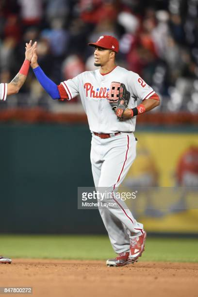 Aaron Altherr of the Philadelphia Phillies celebrates a win after a baseball game against the Washington Nationals at Nationals Park on September 9...