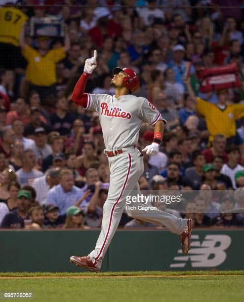 Aaron Altherr of the Philadelphia Phillies celebrates after he hit a tworun home run off David Price of the Boston Red Sox during the third inning of...