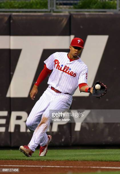 Aaron Altherr of the Philadelphia Phillies during a game against the Cincinnati Reds at Citizens Bank Park on May 26 2017 in Philadelphia...