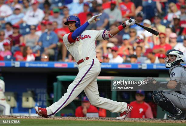 Aaron Altherr of the Philadelphia Phillies during a game against the San Diego Padres at Citizens Bank Park on July 8 2017 in Philadelphia...