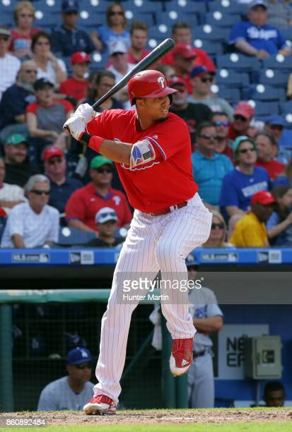 Aaron Altherr of the Philadelphia Phillies during a game against the Los Angeles Dodgers at Citizens Bank Park on September 21 2017 in Philadelphia...