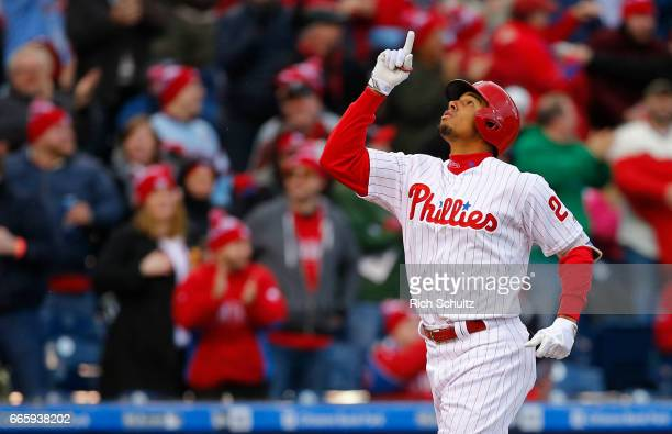 Aaron Altherr of the Philadelphia Phillies gestures after hitting a two run home run in the seventh inning against the Washington Nationals in a game...