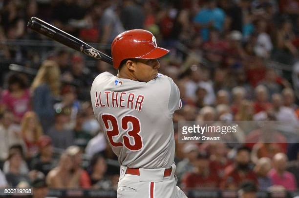 Aaron Altherr of the Philadelphia Phillies grounds out to first driving in a run during the first inning of the MLB game against the Arizona...