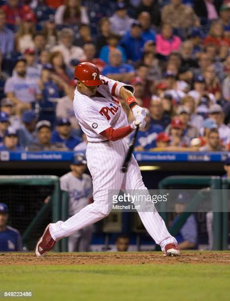 Aaron Altherr of the Philadelphia Phillies hits a grand slam in the bottom of the sixth inning against the Los Angeles Dodgers at Citizens Bank Park...