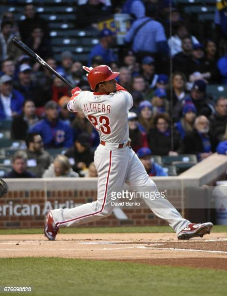 Aaron Altherr of the Philadelphia Phillies hits a home run against the Chicago Cubs during the first inning on May 2 2017 at Wrigley Field in Chicago...