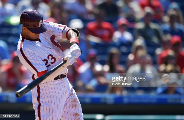 Aaron Altherr of the Philadelphia Phillies hits a home run in the seventh inning against the San Diego Padres at Citizens Bank Park on July 9 2017 in...