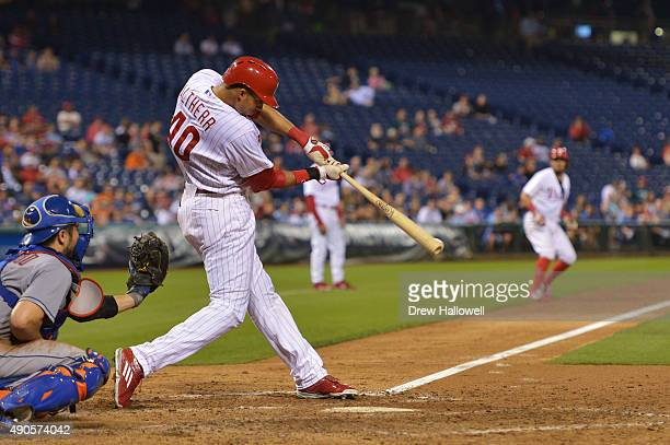 Aaron Altherr of the Philadelphia Phillies hits a one run single in the seventh inning against the New York Mets at Citizens Bank Park on September...
