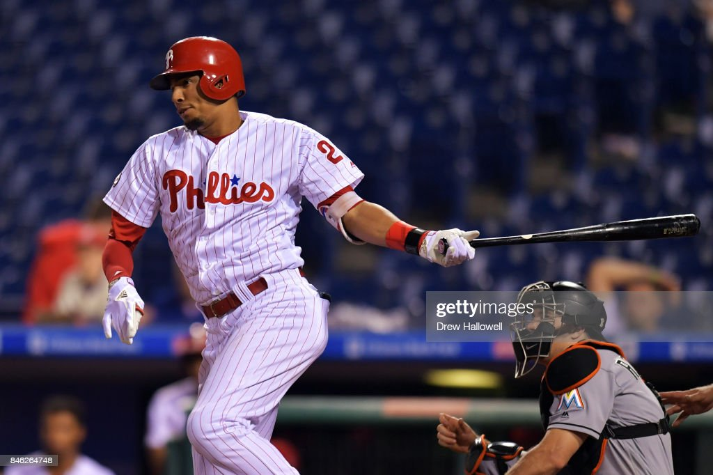 Aaron Altherr #23 of the Philadelphia Phillies hits a single in the 15th inning against the Miami Marlins at Citizens Bank Park on September 12, 2017 in Philadelphia, Pennsylvania. The Phillies won 9-8.