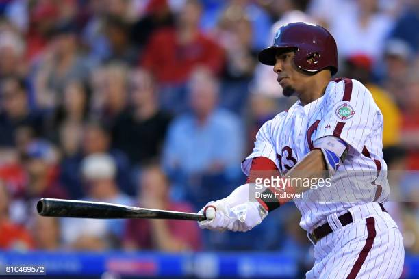 Aaron Altherr of the Philadelphia Phillies hits a single in the sixth inning at Citizens Bank Park on July 7 2017 in Philadelphia Pennsylvania