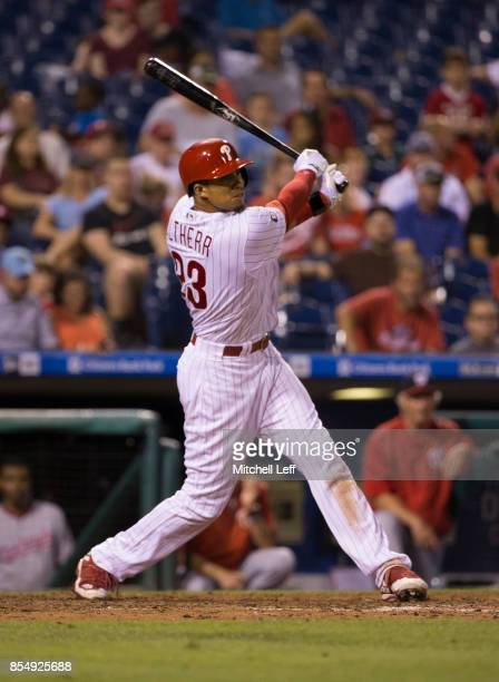 Aaron Altherr of the Philadelphia Phillies hits a two RBI triple in the bottom of the fifth inning against the Washington Nationals at Citizens Bank...