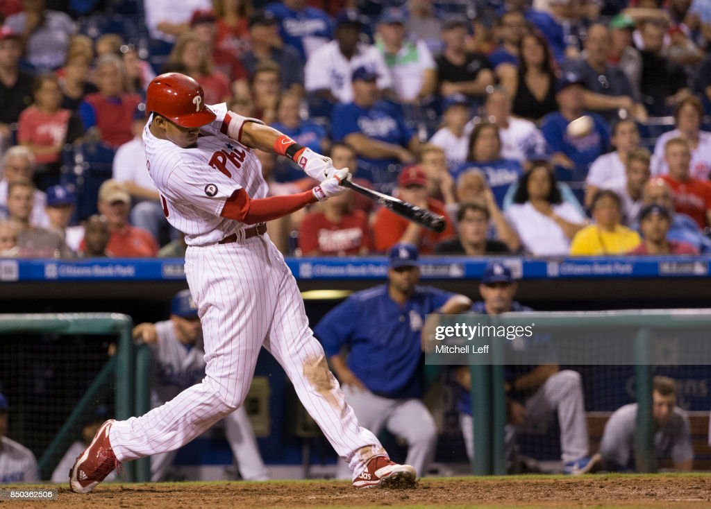Aaron Altherr #23 of the Philadelphia Phillies hits a two run home run in the bottom of the seventh inning against the Los Angeles Dodgers at Citizens Bank Park on September 20, 2017 in Philadelphia, Pennsylvania. The Phillies defeated the Dodgers 7-5.