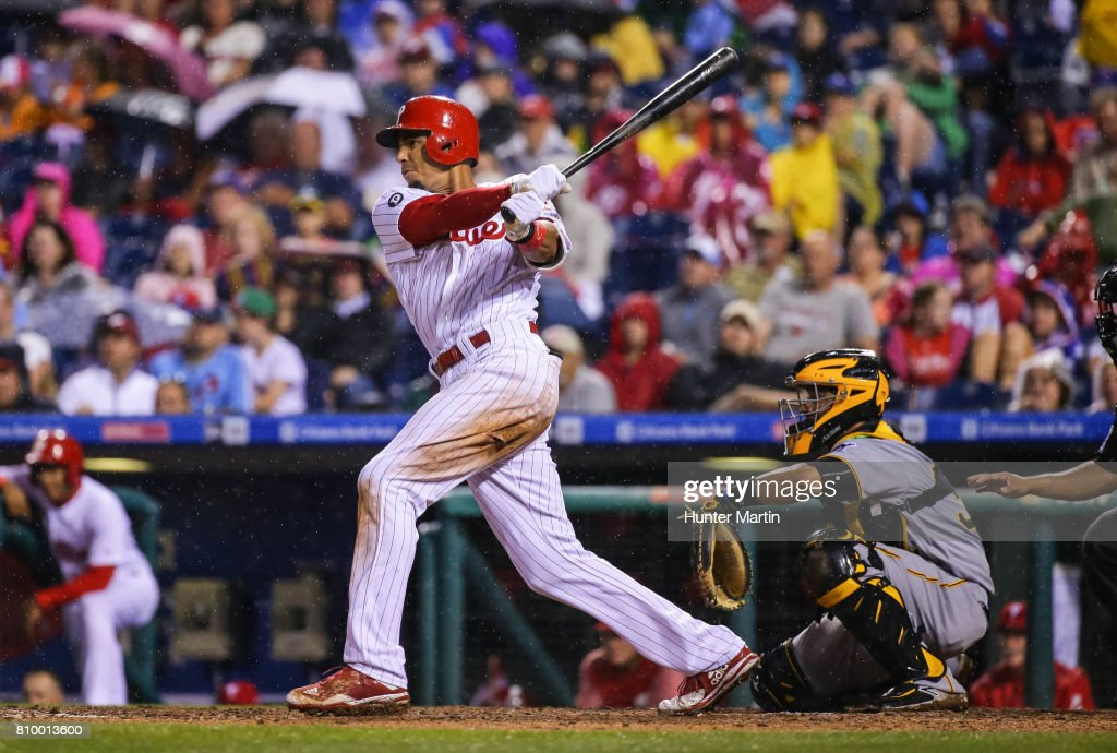 Aaron Altherr #23 of the Philadelphia Phillies hits a two-run double in the seventh inning during a game against the Pittsburgh Pirates at Citizens Bank Park on July 6, 2017 in Philadelphia, Pennsylvania. The Pirates won 6-3.