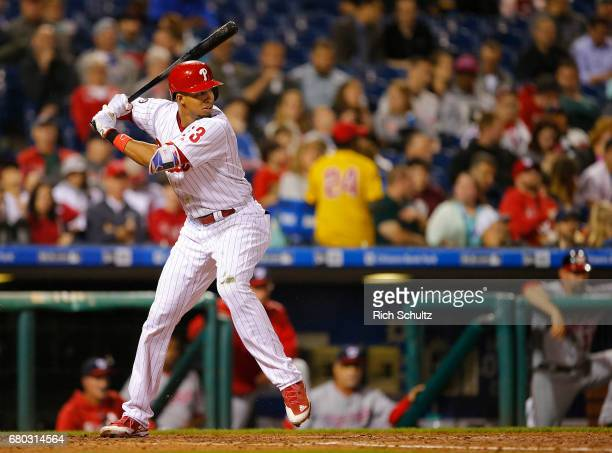 Aaron Altherr of the Philadelphia Phillies in action against the Washington Nationals during a game at Citizens Bank Park on May 5 2017 in...