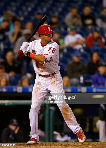 Aaron Altherr of the Philadelphia Phillies in action against the Colorado Rockies during a game at Citizens Bank Park on May 24 2017 in Philadelphia...