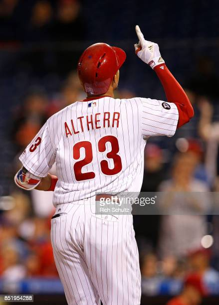 Aaron Altherr of the Philadelphia Phillies in action against the Los Angeles Dodgers during a game at Citizens Bank Park on September 19 2017 in...