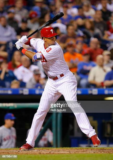 Aaron Altherr of the Philadelphia Phillies in action against the New York Mets during a game at Citizens Bank Park on April 10 2017 in Philadelphia...
