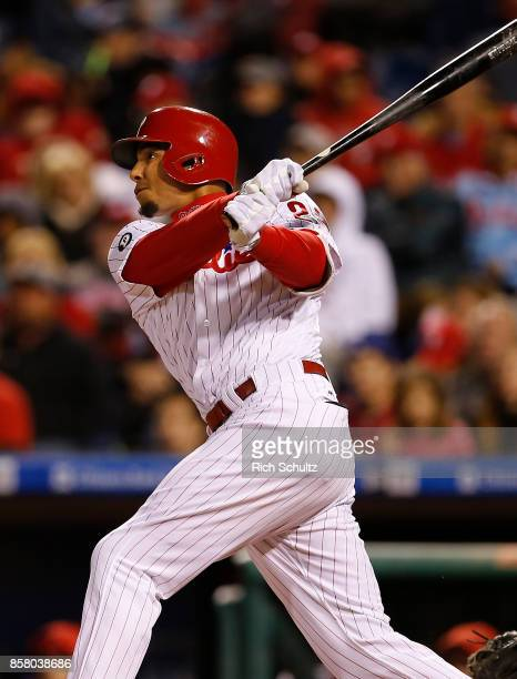 Aaron Altherr of the Philadelphia Phillies in action against the New York Mets during a game at Citizens Bank Park on September 30 2017 in...