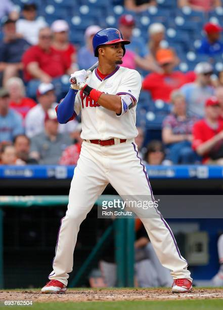 Aaron Altherr of the Philadelphia Phillies in action against the San Francisco Giants during a game at Citizens Bank Park on June 4 2017 in...