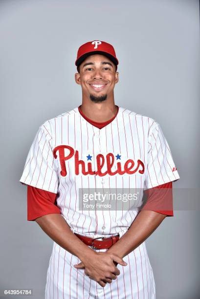 Aaron Altherr of the Philadelphia Phillies poses during Photo Day on Monday February 20 2017 at Spectrum Field in Clearwater Florida