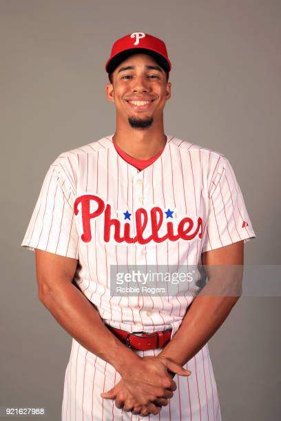 Aaron Altherr of the Philadelphia Phillies poses during Photo Day on Tuesday February 20 2018 at Spectrum Field in Clearwater Florida