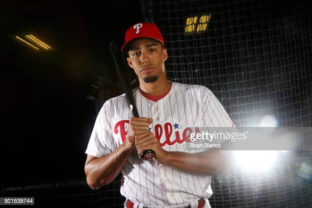 Aaron Altherr of the Philadelphia Phillies poses for a portrait on February 20 2018 at Spectrum Field in Clearwater Florida