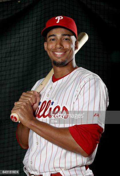 Aaron Altherr of the Philadelphia Phillies poses for a portrait during the Philadelphia Phillies photo day on February 20 2017 at Spectrum Field in...