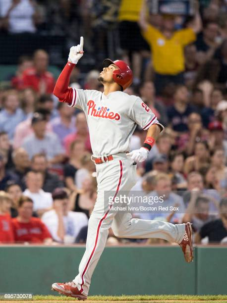 Aaron Altherr of the Philadelphia Phillies reacts after a tworun home run against the Boston Red Sox in the third inning at Fenway Park on June 13...