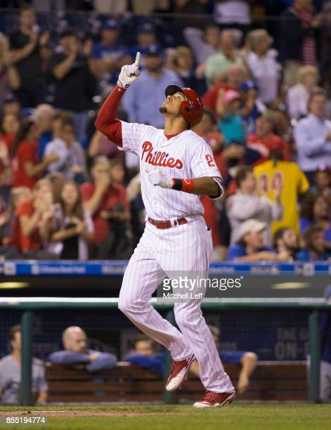 Aaron Altherr of the Philadelphia Phillies reacts against the Los Angeles Dodgers at Citizens Bank Park on September 18 2017 in Philadelphia...