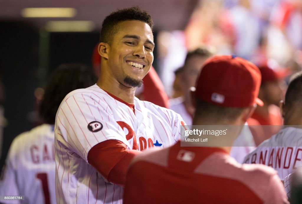 Aaron Altherr #23 of the Philadelphia Phillies reacts in the dugout after hitting a two run home run in the bottom of the seventh inning against the Los Angeles Dodgers at Citizens Bank Park on September 20, 2017 in Philadelphia, Pennsylvania. The Phillies defeated the Dodgers 7-5.
