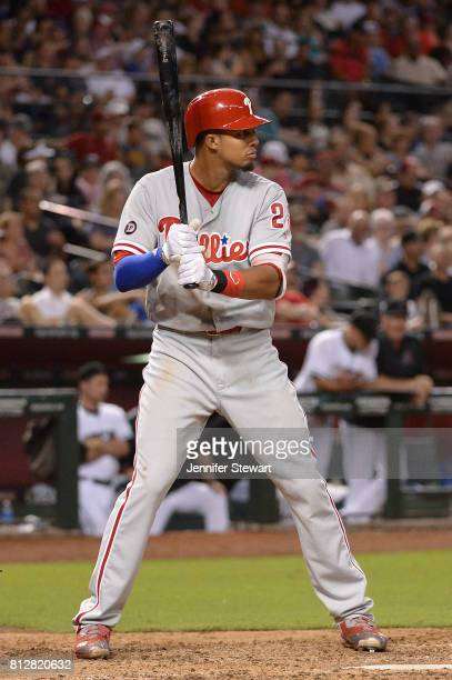 Aaron Altherr of the Philadelphia Phillies stands at bat against the against the Arizona Diamondbacks at Chase Field on June 23 2017 in Phoenix...