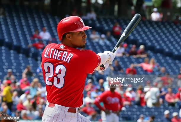 Aaron Altherr of the Philadelphia Phillies swings at a pitch in the fifth inning during a game against the Seattle Mariners at Citizens Bank Park on...