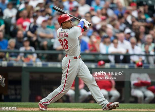 Aaron Altherr of the Philadelphia Phillies takes a swing during an atbat in an interleague game against the Seattle Mariners at Safeco Field on June...