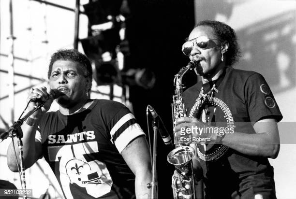 Aaron and Charles Neville performing with The Neville Brothers at The Pier in New York City on July 17, 1987.