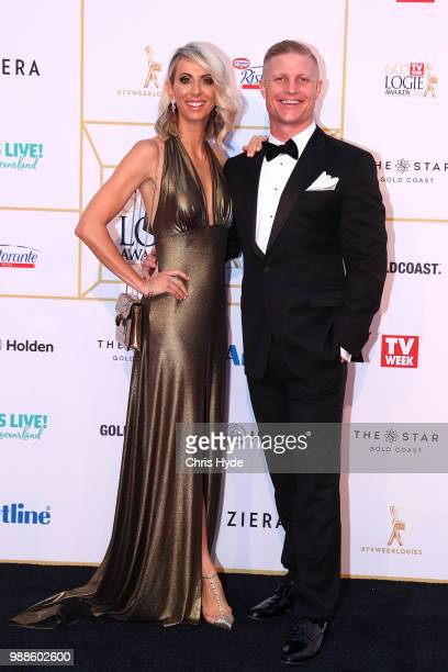 Aaron and Daniella Winter arrive at the 60th Annual Logie Awards at The Star Gold Coast on July 1 2018 in Gold Coast Australia