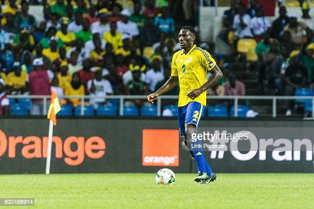 Aaron Appindangoye of Gabon during the African Nations Cup match between Cameroon and Gabon at Stade de L'Amitie on January 22, 2017 in Libreville,...