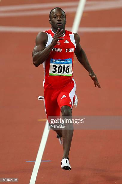 Aaron Armstrong of Trinidad and Tobago competes in the Men's 200m Heats at the National Stadium on Day 10 of the Beijing 2008 Olympic Games on August...