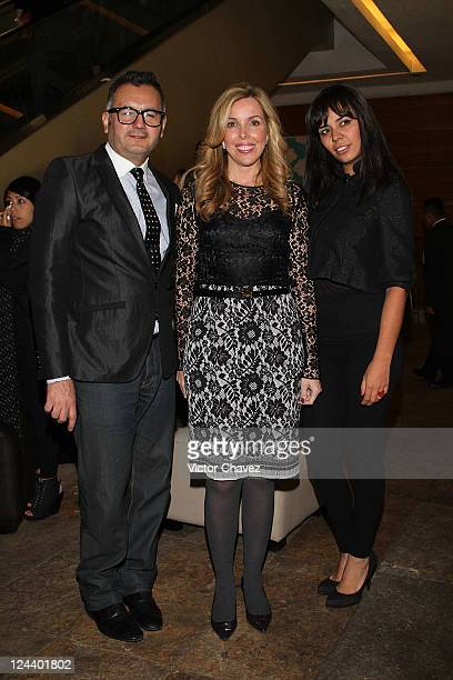 Aaron Arthur Vogue Mexico and Latin America director Eva Hughes and Denisse Padilla La Mapacha attend the Vogue's Fashion's Night Out at Antara...