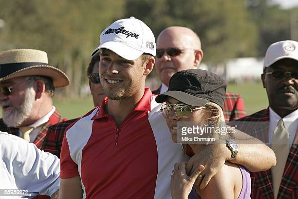 Aaron Baddeley and his wife Richelle on the 18th hole after winning the 2006 Verizon Heritage Classic being played at the Harbour Town Golf Links in...