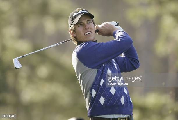 Aaron Baddeley hits a shot at Spyglass Hill Golf Course during the second round of the AT&T Pebble Beach National Pro-Am on February 6, 2004 in...