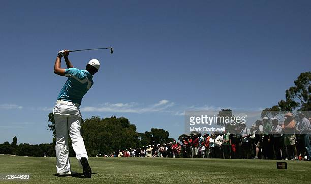 Aaron Baddeley of Australia hits a tee shot on the fourth hole during the final round of the 2006 Mastercard Masters at Huntingdale Golf Club...