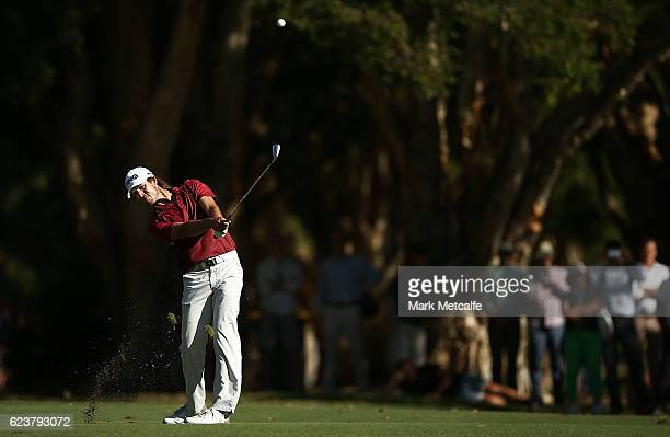 Aaron Baddeley of Australia hits an approach shot on the 18th hole during day one of the 2016 Australian golf Open at Royal Sydney Golf Club on...