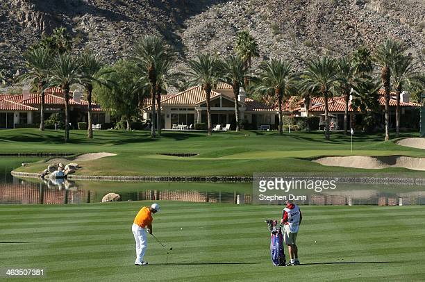Aaron Baddeley of Australia hits his second shot on the fourth hole during the third round of the Humana Challenge in partnership with the Clinton...