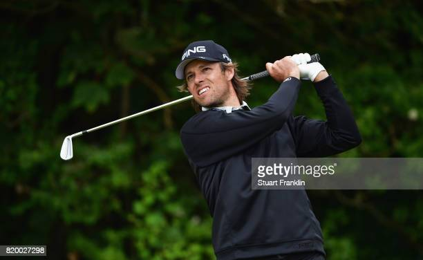 Aaron Baddeley of Australia hits his tee shot on the 5th hole during the second round of the 146th Open Championship at Royal Birkdale on July 21...
