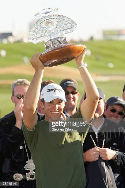 Aaron Baddeley of Australia holds the trophy after the final round of the FBR Open on February 4 2007 at TPC Scottsdale in Scottsdale Arizona...