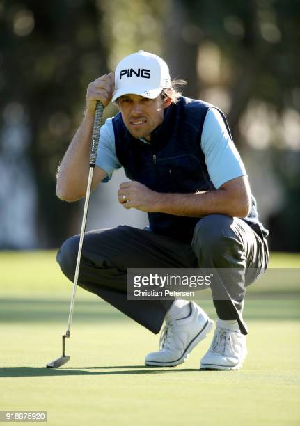 Aaron Baddeley of Australia lines up a putt on the third green during the first round of the Genesis Open at Riviera Country Club on February 15 2018...
